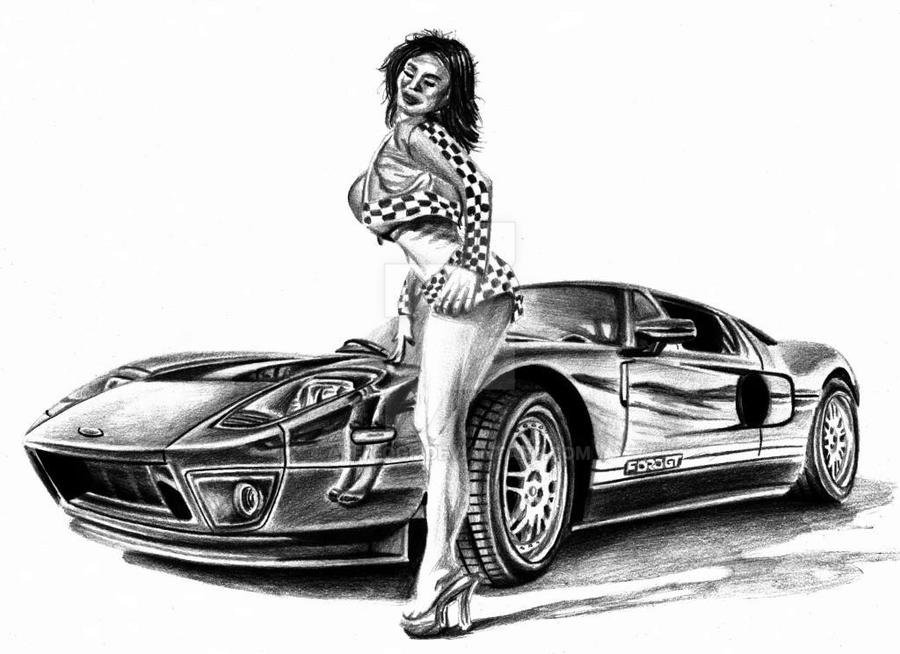 Ford Gt And Girl By Arek Ogf