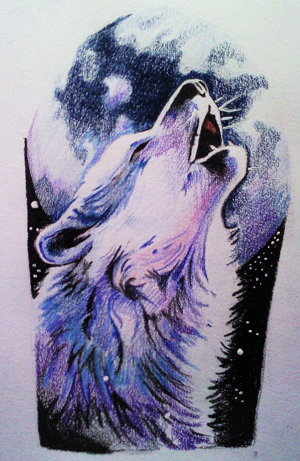 sun and moon tattoos Howling wolf