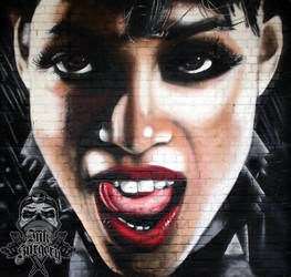 Sin City Rosario Dawson graffiti portrait by inksurgeon
