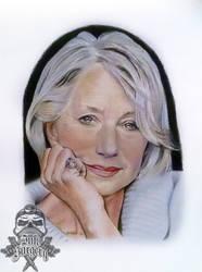 Helen Mirren colour pencil portrait by inksurgeon
