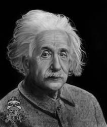 Albert Einstein pencil portrait by inksurgeon