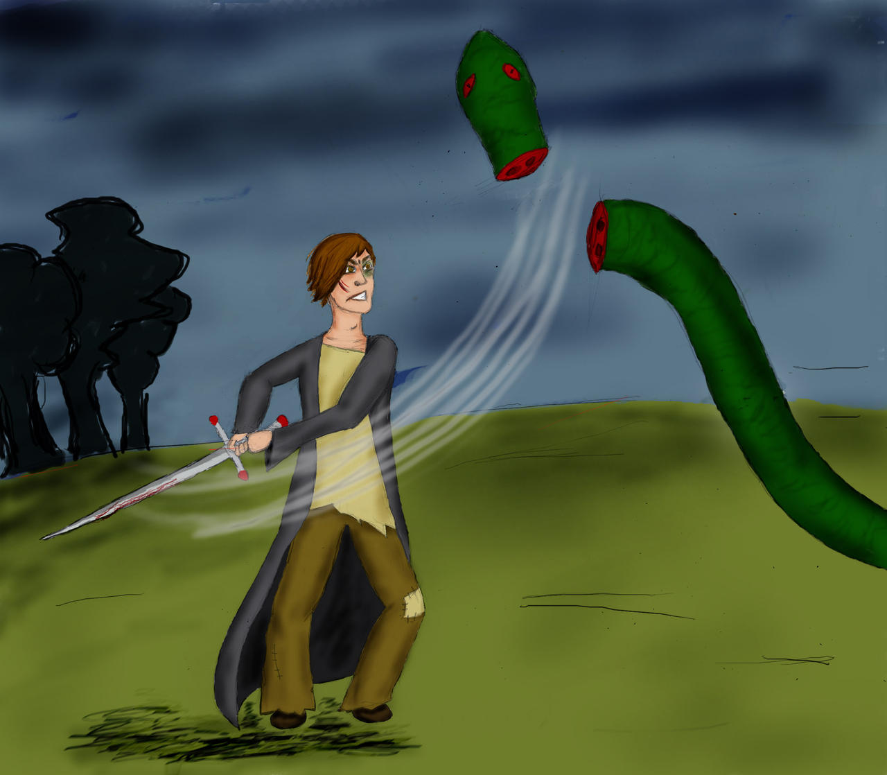 Neville vs Nagini by guad on deviantART