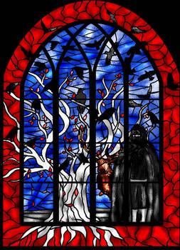 Coldhands stained glass window