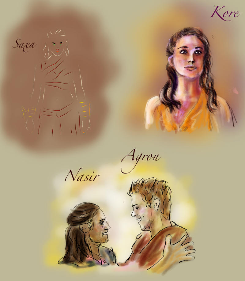 spartacus sketches saxa kore nasir agron by guad on