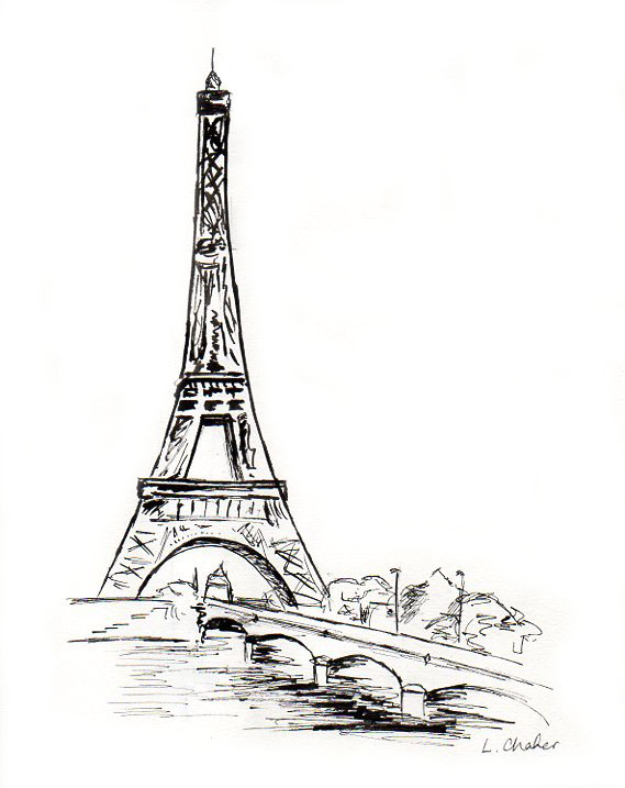 Eiffel tower ink drawing by laurachafer