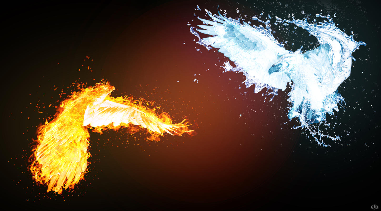 Eagle Fire vs Water by Groltard on DeviantArt