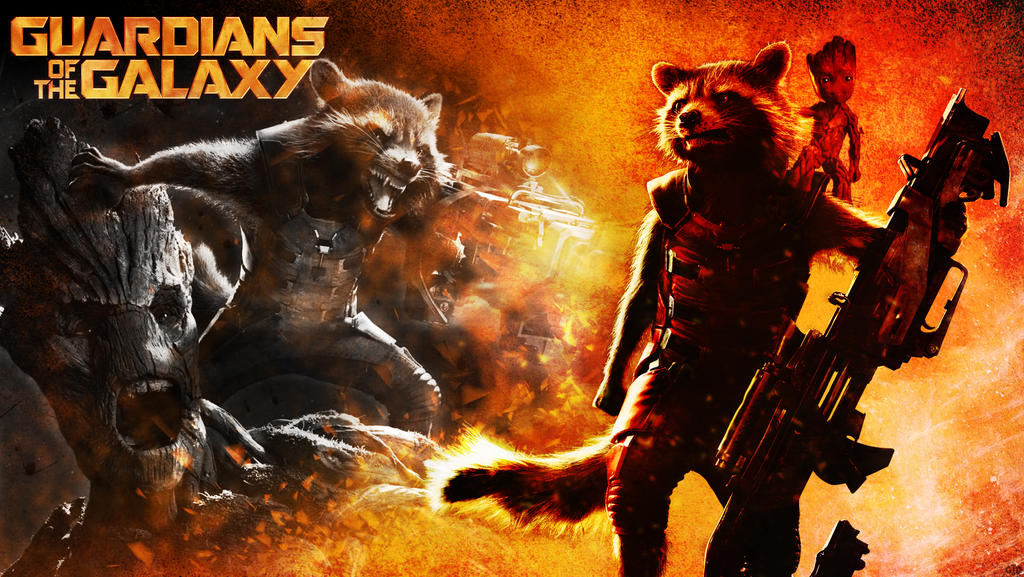 Rocket and Groot Wallpaper by Groltard