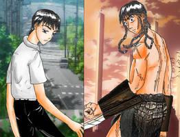 Shinji Ikari and Shinji Curved Blade (Complete) by RealRemainder