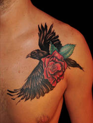 Raven and rose by justTattoo