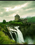 Castle at waterfall