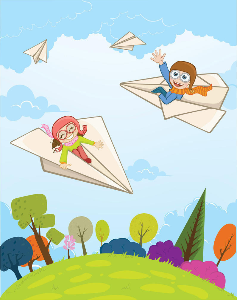 Boy and girl flying on a paper plane by ogunday
