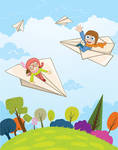Boy and girl flying on a paper plane