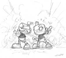 Cuphead and Mugman pencil by AnnitArt