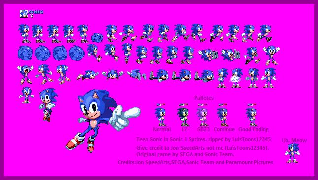 Teen Sonic In Sonic 1 Sprites By Luistoons12345 On Deviantart