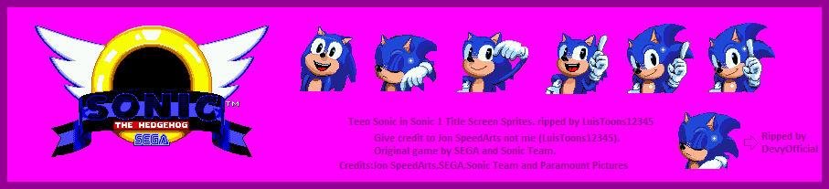 Teen Sonic In Sonic 1 Title Screen Sprites By Luistoons12345 On Deviantart