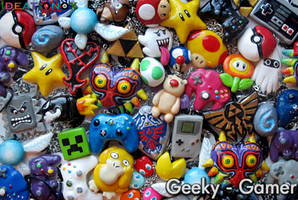 Geeky Gamer Lot of handsculpted necklaces! by Ideationox