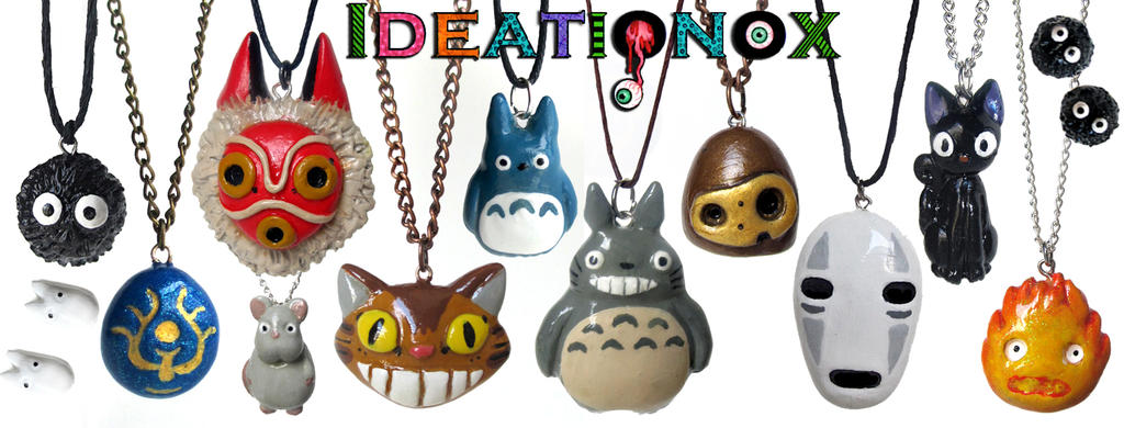 Ghibli inspired polymer clay necklaces / earrings by Ideationox