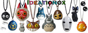 Ghibli inspired polymer clay necklaces / earrings