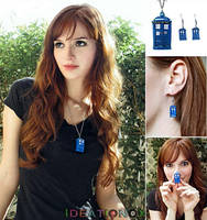 Tardis Earring - Necklace Jewelry Set by Ideationox