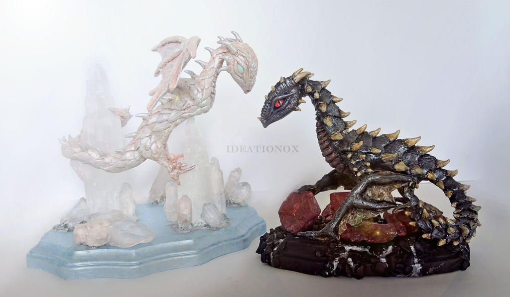 Light vs Dark Dragon Statues by Ideationox