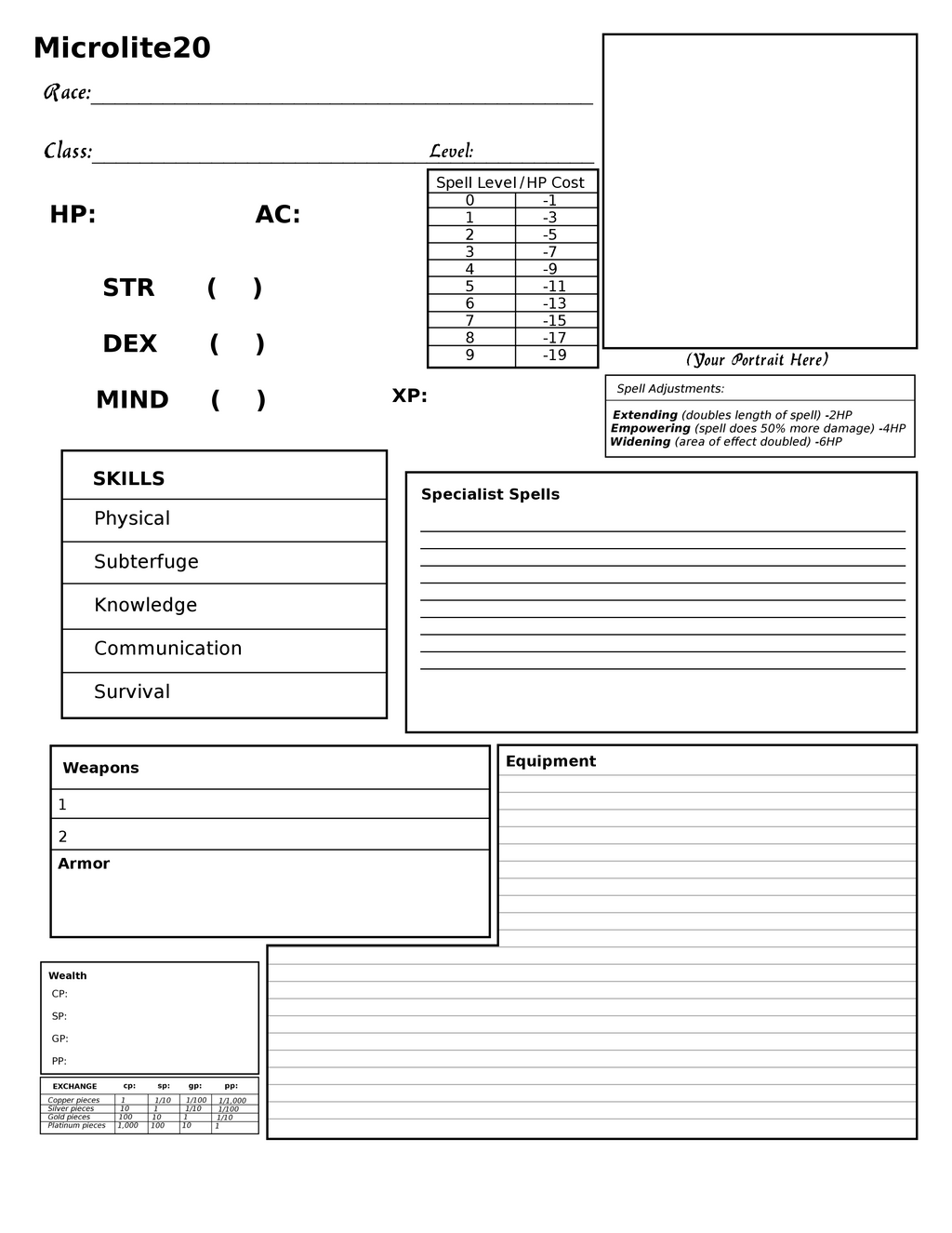 Basic Character Design Sheet : Microlite basic character sheet by fangs on deviantart