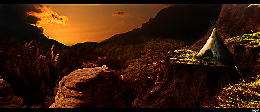 Sunset in the canyon by Olgola