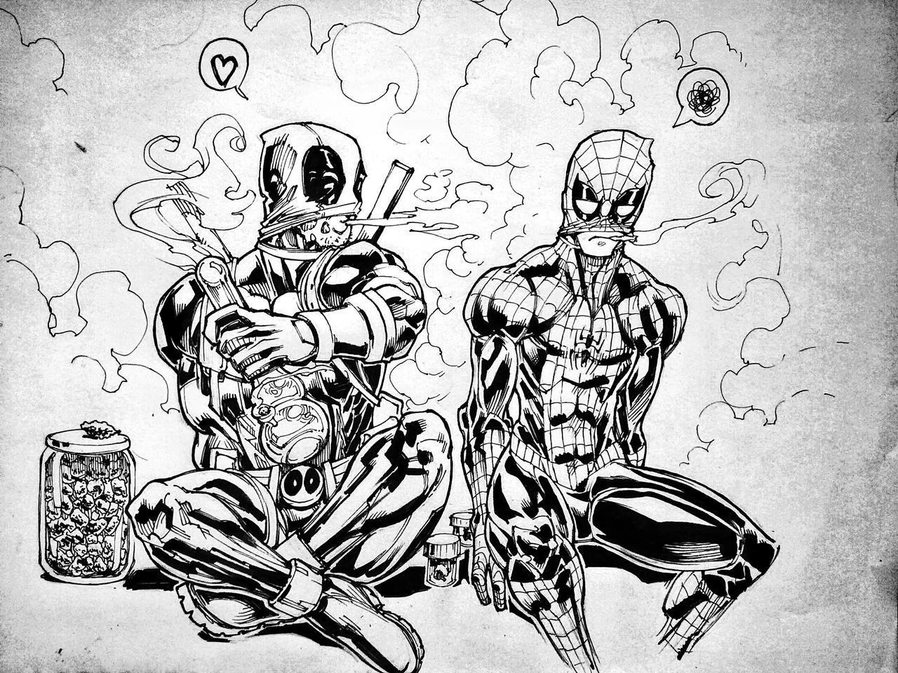 Man Smoking Weed Drawing Deadpool And Spidey Smoke