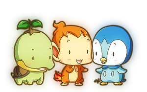 Tiny Sinnoh Starters by kvcl