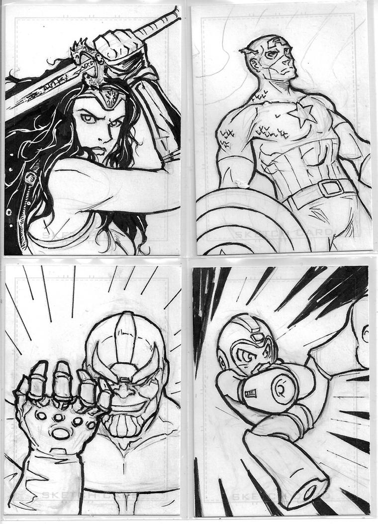 Set of 4 Sketch Cards by Ratcrack