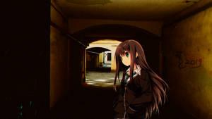 Girl in the dark backyard