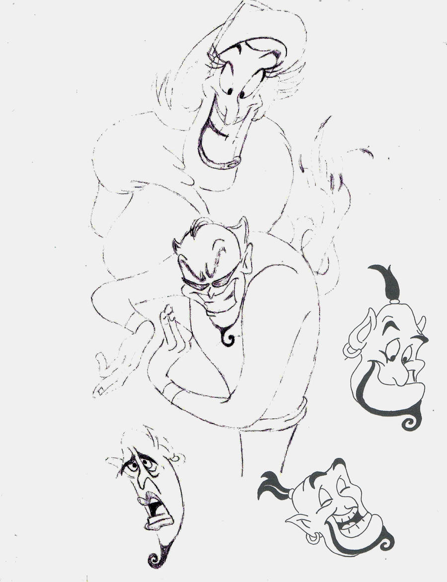 Fanart 41 - Genie Sketches by jvel4073