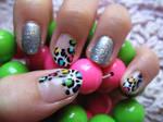 Glamorous Neon Leopard Nails