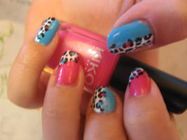 Pink and Blue Leopard Nails by oMARUo
