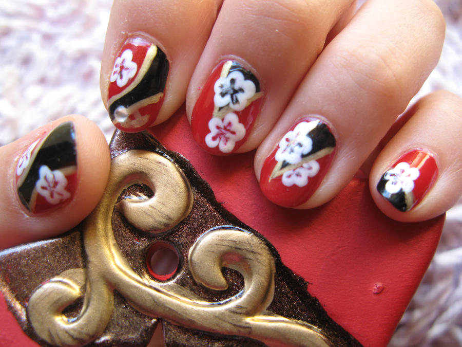 Minzy 'I love you' inspired Nails by oMARUo