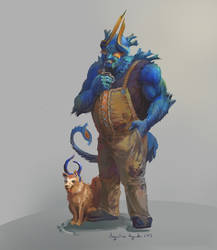 The Blue Man and His Dog