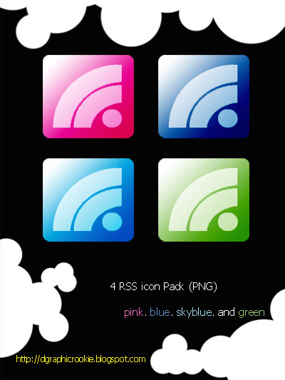 Pink, Blue, Green RSS Icons by dgraphicrookie