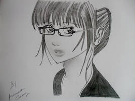 Realistic Girl Sketch With Glasses by abhinendrachauhan