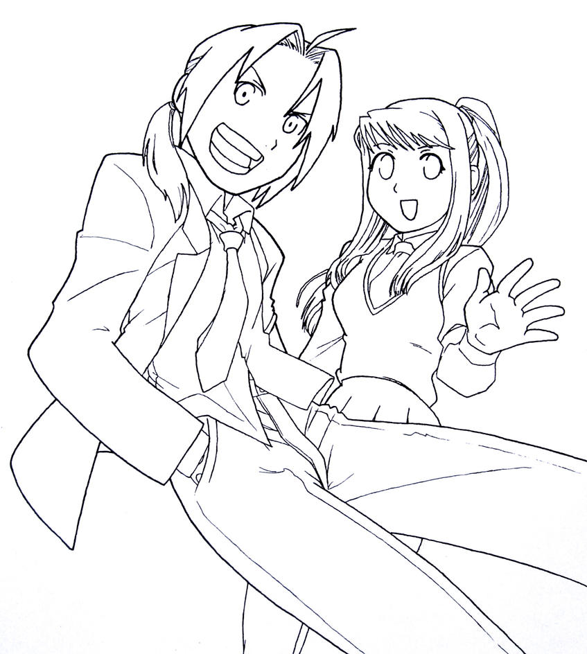 Line Art Uniform : Fma ed and winry in school uniforms line art by angel of