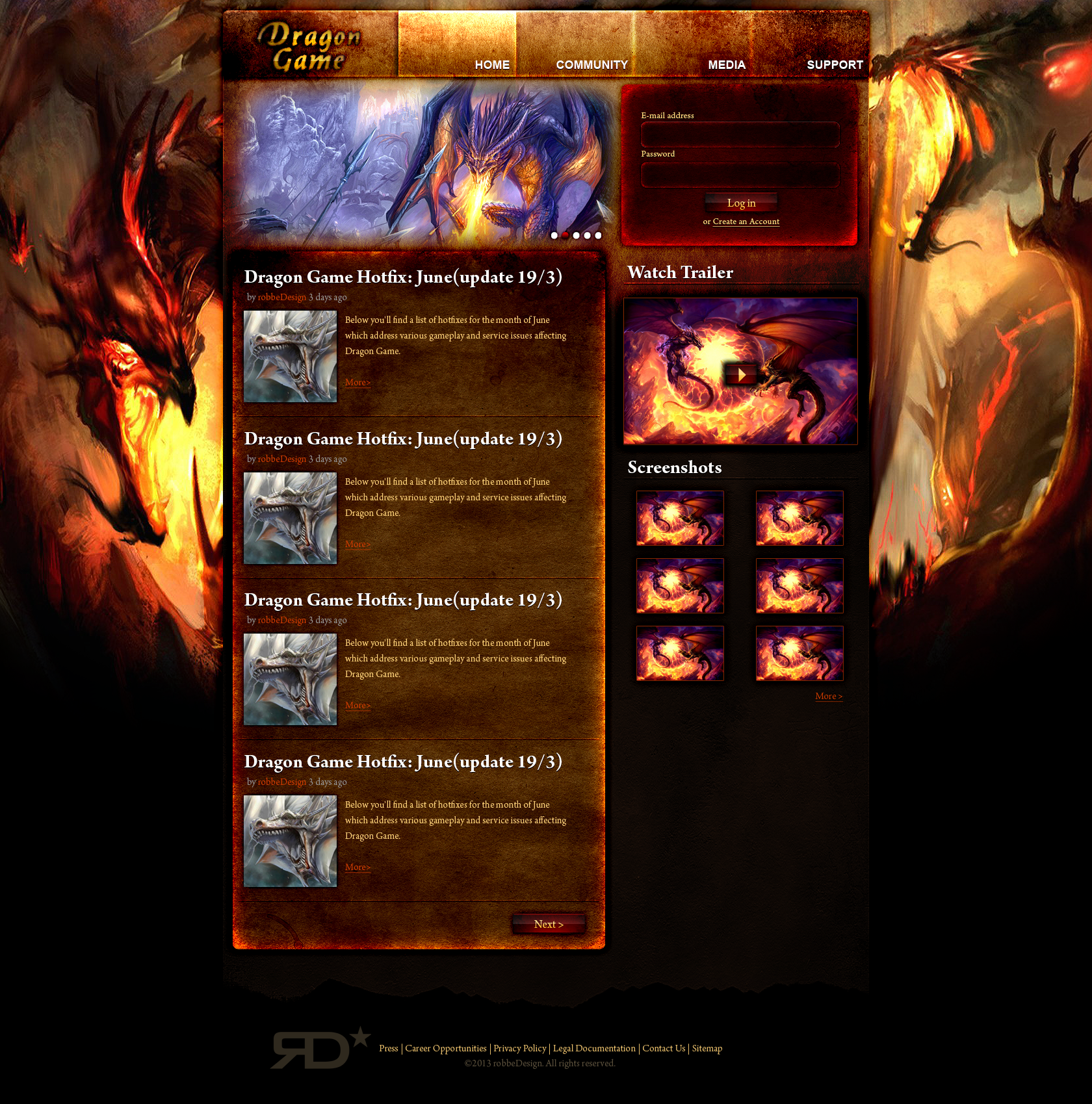Web Design: Dragon Game Template by robbeDesign on DeviantArt