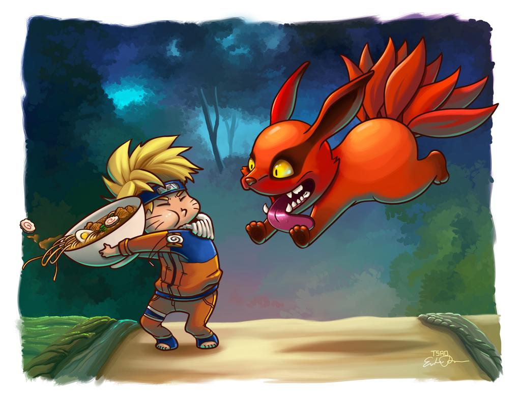 Naruto and Kyuubi Ramen Fight