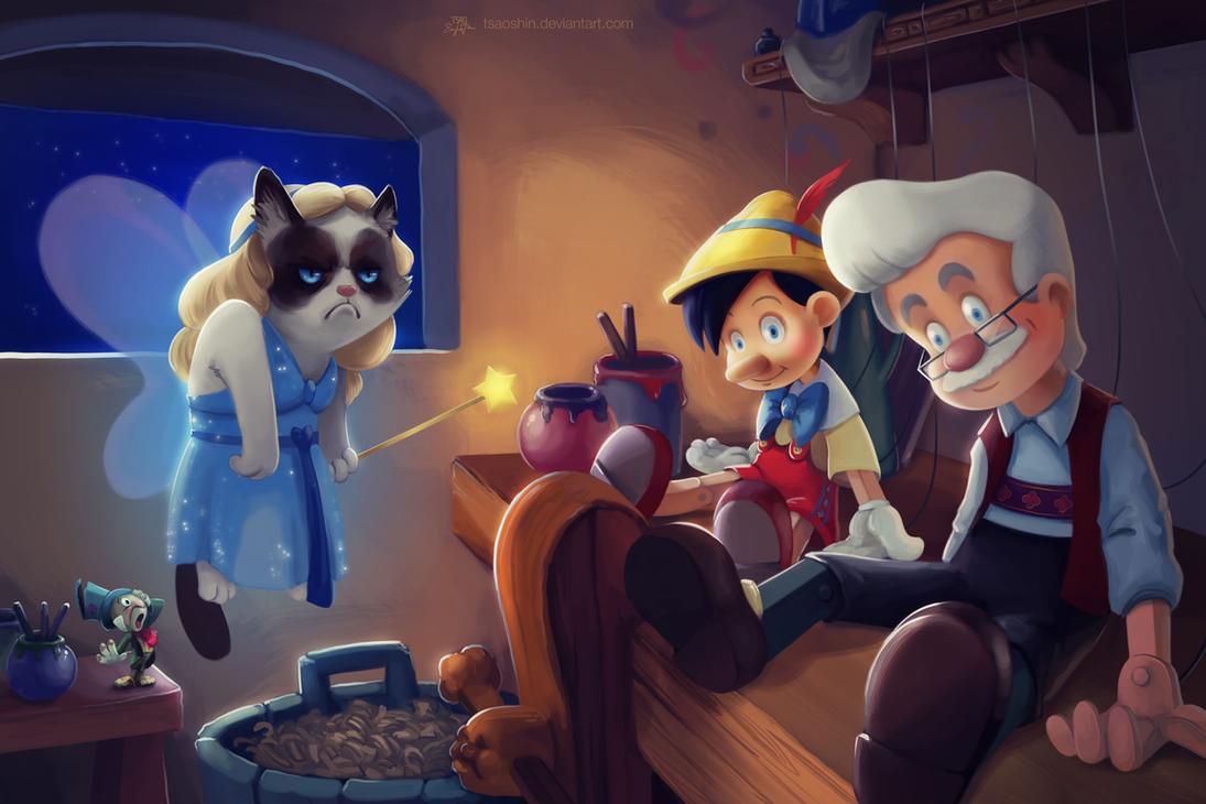 el gato gruñon ¡en todas partes! When_you_wish_upon_a_no_by_tsaoshin-d6l6np5