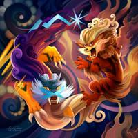 Raikou and Arcanine by TsaoShin