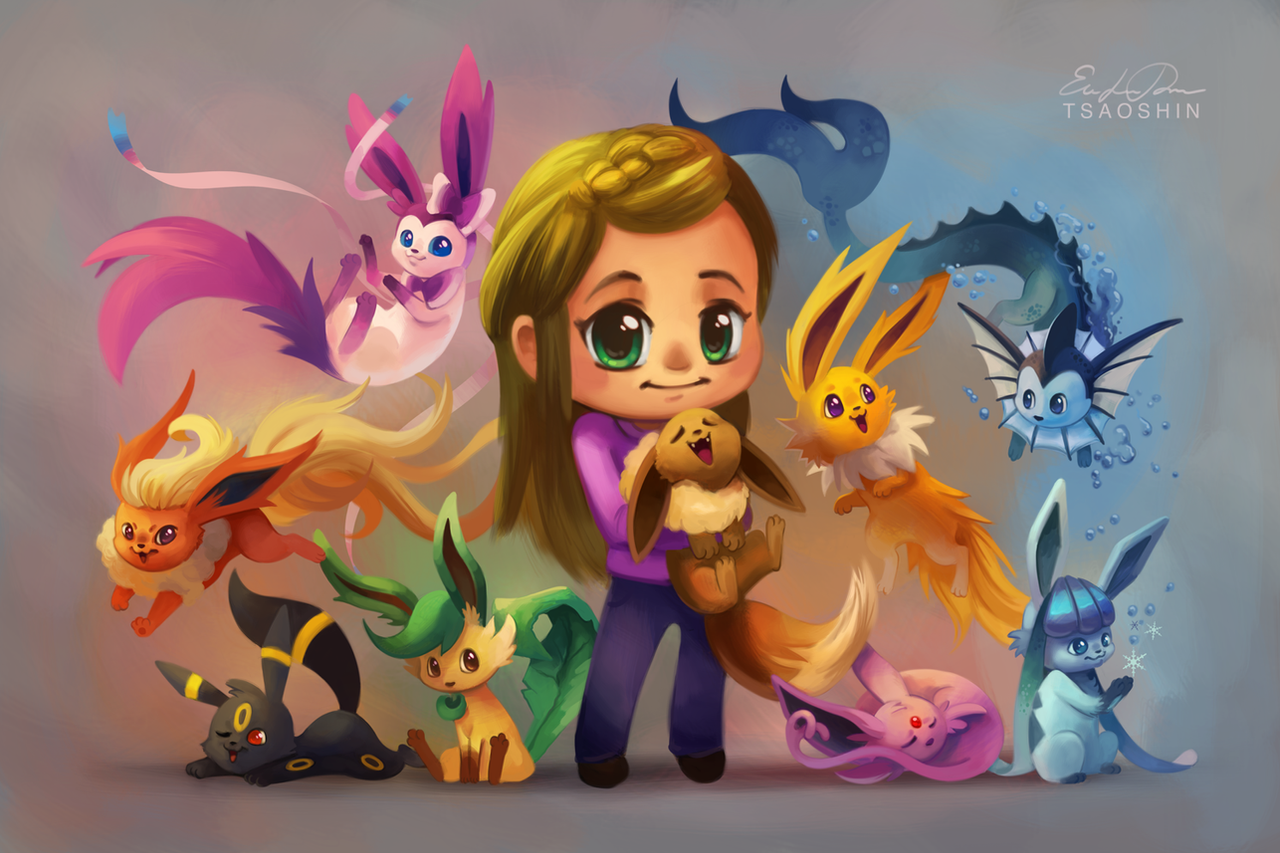 Eeveelutions Chibi Commission by TsaoShin on DeviantArt