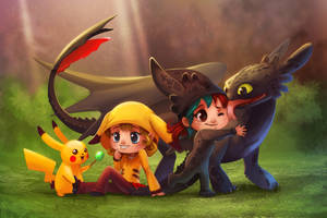 Pikachu and Toothless Commission by TsaoShin