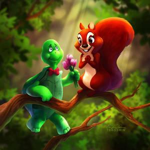 Turtle and Squirrel by TsaoShin