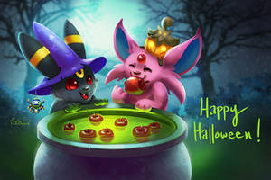 Espeon and Umbreon Halloween by TsaoShin