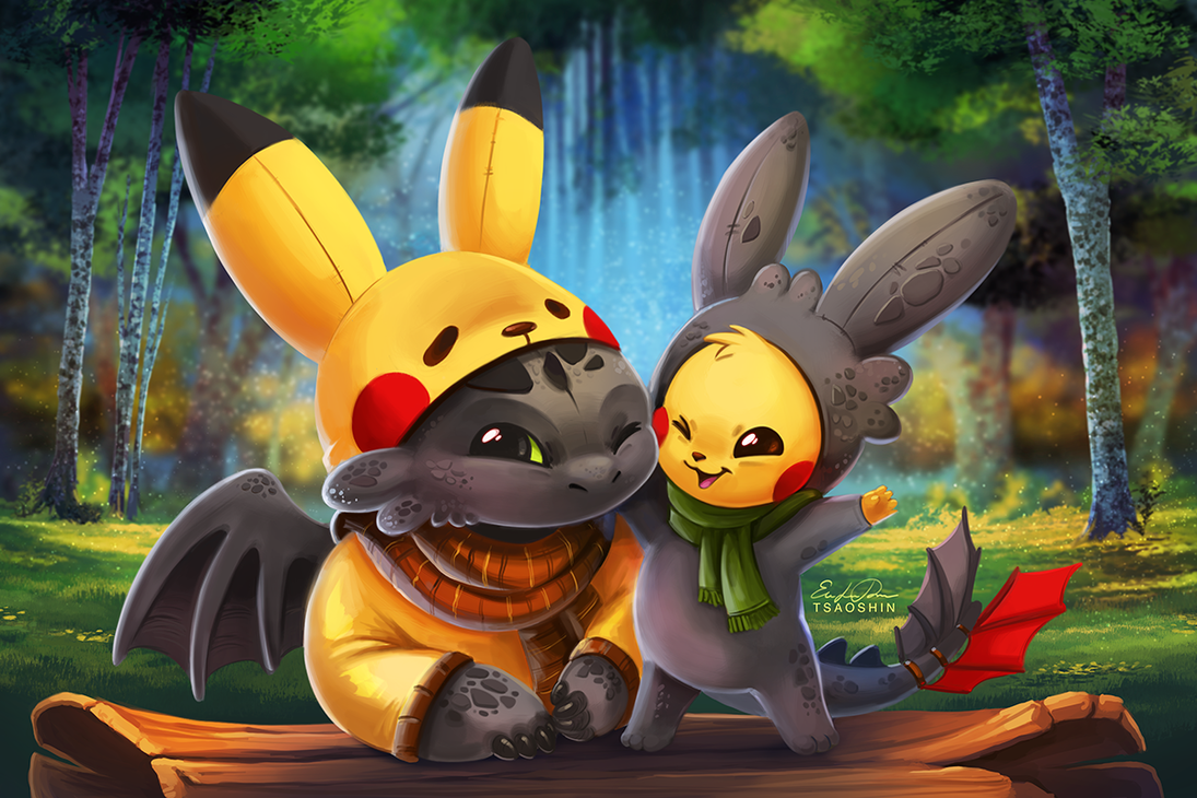 pikachu and toothless by tsaoshin on deviantart