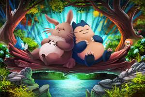 Totoro and Snorlax by TsaoShin