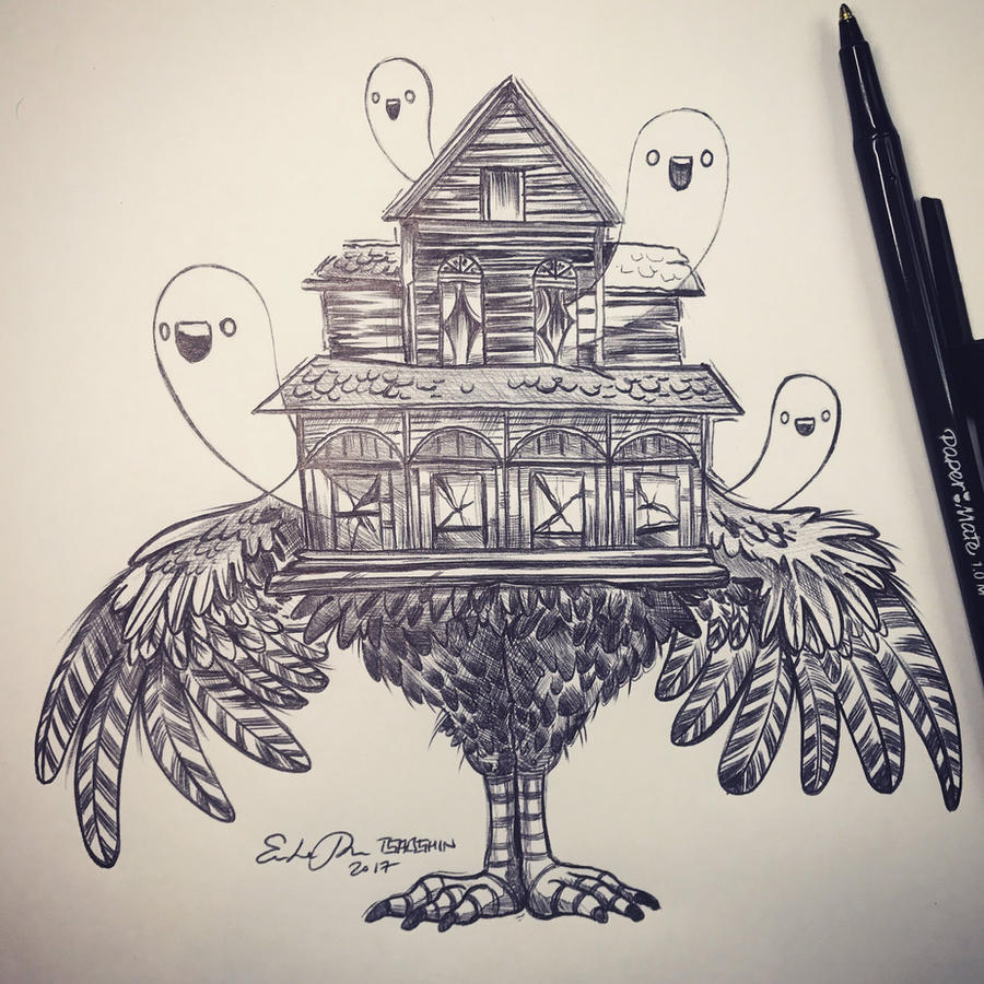 Inktober Day 15: Haunted House by TsaoShin