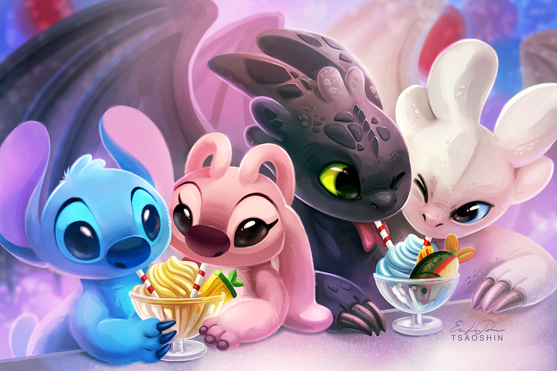 Double Date - Stitch Angel Toothless Light Fury by TsaoShin